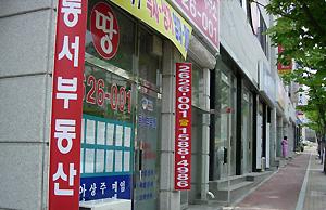 부동산 중개업소들의 동맹휴업을 하루 앞두고 14일 오후 춘천시 석사동 도로변의 부동산 중개업소들이 한산하다. 박은성