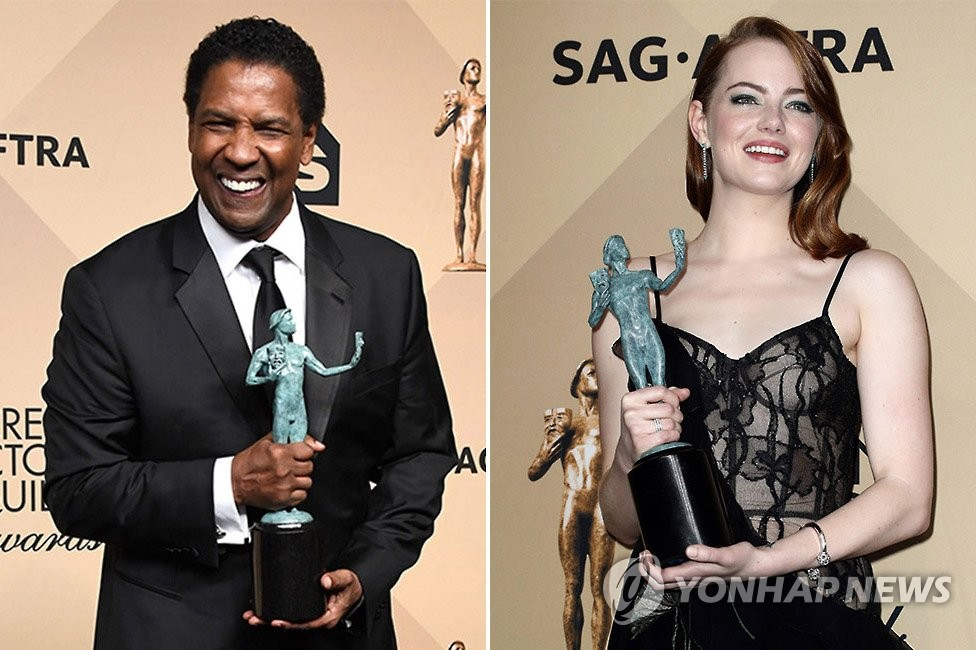 영화 '펜스'의 덴젤 워싱턴(63)과 '라라랜드'의 엠마 스톤(29)이 미국 배우조합상(SAG·Screen Actors Guild Awards) 남녀주연상을 수상했다.