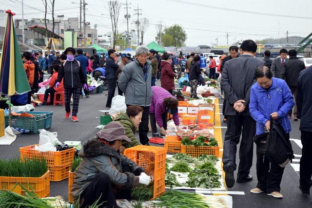▲ 원주시 농업인새벽시장에 참가한 농민들이 직접 채취한 봄나물을 판매하고 있다.