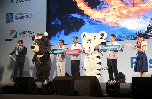 ▲ 최문순 지사는 지난 23일 일본 도쿄에서 서울·경기와 함께 2018평창동계올림픽 붐업(Boom-Up) 로드쇼를 공동 주관했다.