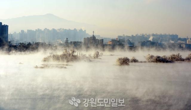 ▲ 최강한파가 몰아치는 가운데 13일 춘천 소양강 물안개 속에서 상고대가 순백의 자태를 뽐내고 있다.  박상동