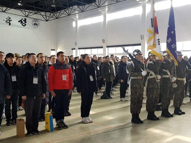 ▲ 육군7사단 올해 첫 신병 입소식이 2일 사단 신병교육대대에서 220명의 장정들이 참가한 가운데 열렸다.