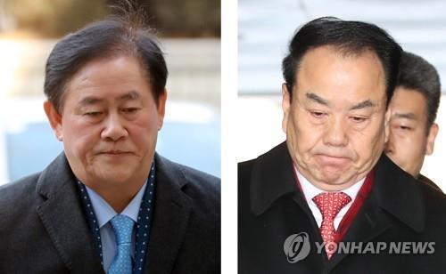 ▲ 굳은 표정의 최경환(왼쪽)·이우현(오른쪽) 자유한국당 의원