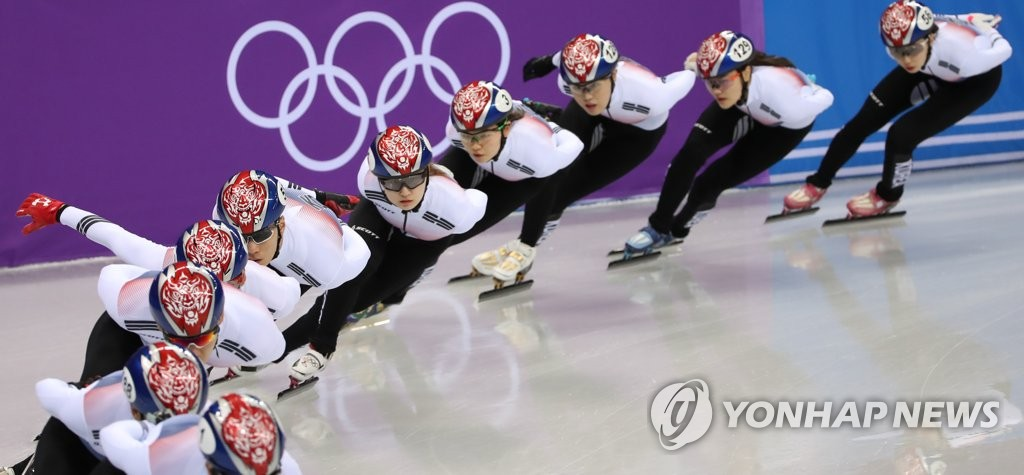 ▲ 한국 쇼트트랙 대표팀이 8일 오후 강릉아이스아레나에서 훈련하고 있다.