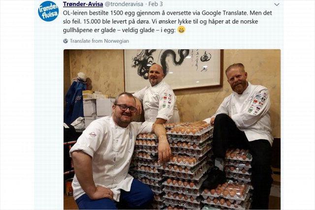 ▲ 평창올림픽에 참가한 노르웨이 선수단의 스탈레 요한센 셰프가 구글 번역기 오류로 1만 5000개가 배달된 계란 앞에서 찍은 기념사진을 트위터에 올렸다.