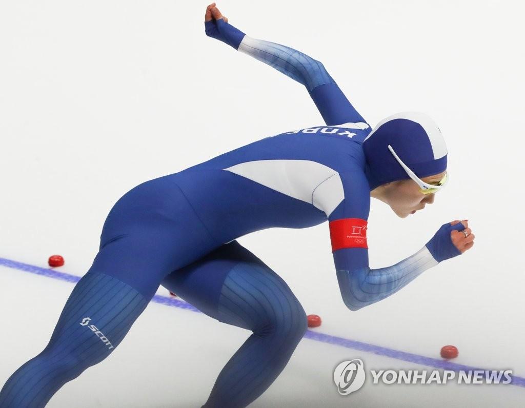 ▲ 올림픽 3연패에 도전하는 '빙속여제' 이상화가 18일 오후 강원 강릉스피드스케이팅경기장에서 열린 2018 평창동계올림픽 스피드스케이팅 여자 500m 경기에서 이상화가 레이스를 펼치고 있다. 이상화는 37초33으로 레이스를 마쳤다.