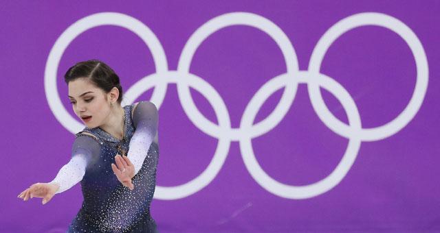 ▲ 21일 강릉아이스아레나에서 열린 2018 평창동계올림픽 피겨스케이팅 여자 싱글 쇼트프로그램에서 러시아 출신 올림픽선수(OAR) 예브게니야 메드베데바가 연기하고 있다. 2018.2.21