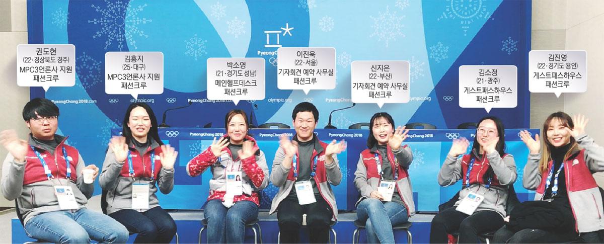 ▲ 국내 언론과 외신 등 3000여명이 상주하고 있는 메인프레스센터(MPC)에서 올림픽을 보내고 있는 권도현(사진 왼쪽부터),김홍지,박소영,이진욱,신지은,김소정,김진영 자원봉사자.