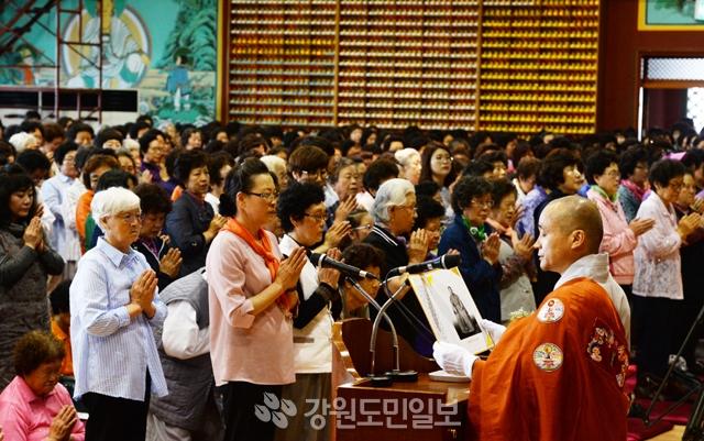▲ 삼운사 부처님 오신날 봉축 법요식이 22일 춘천 삼운사 대불보전에서 열렸다.  김명준