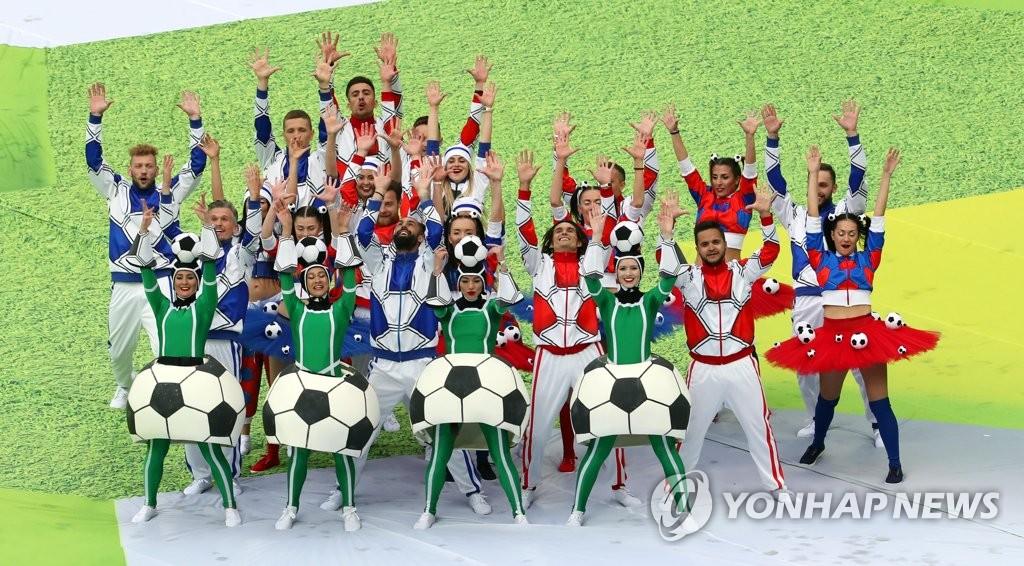 ▲ 14일(현지시간) 러시아 모스크바 루즈니키 스타디움에서 열린 2018 러시아 월드컵 개막식에서 출연자들이 멋진 무대를 선보이고 있다. 2018.6.15
