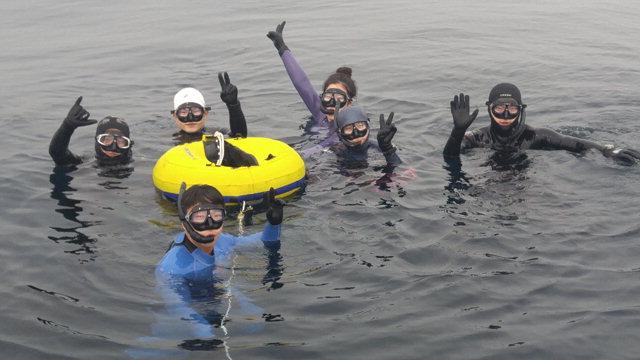 ▲ 사천진리 어촌특화마을을 찾은 체험관광객들이 스킨스쿠버 다이빙을 즐기고 있다.