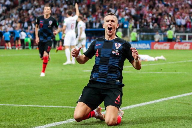 ▲ 11일(현지시간) 러시아 모스크바 루즈니키 스타디움에서 열린 2018 러시아 월드컵 준결승전 잉글랜드와의 경기에서 이반 페리시치가 동점골을 넣은 후 환호하고 있다.