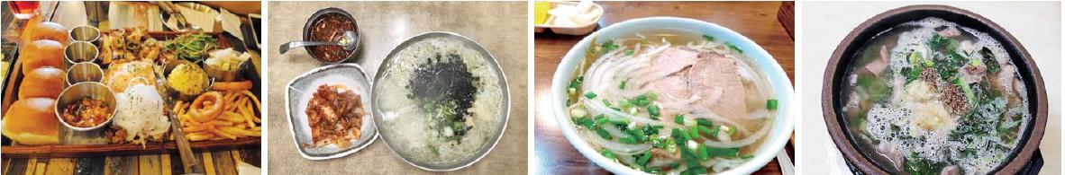 ▲ 사진 왼쪽부터'가라지','낭만국시','퍼후에','금선식당' 대표메뉴들.