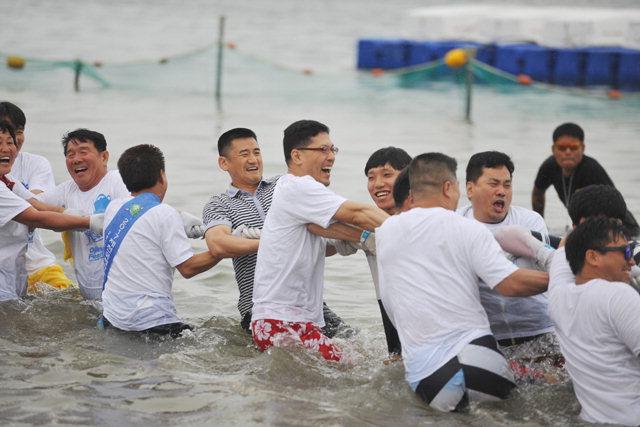 ▲ 장사항 오징어맨손잡기 축제에 참가한 체험자들이 바다 줄다리기를 하고있다.