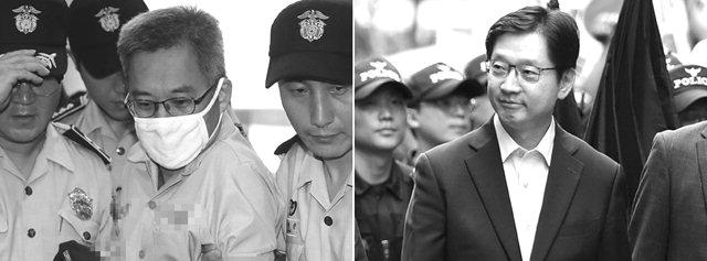 ▲ 김경수 경남도지사(오른쪽)가 드루킹의 댓글조작 행위를 공모한 혐의로 특검에 재소환된 9일 오후 '드루킹' 김동원 씨(왼쪽)가 서울 강남구 허익범 특검으로 소환되고 있다.