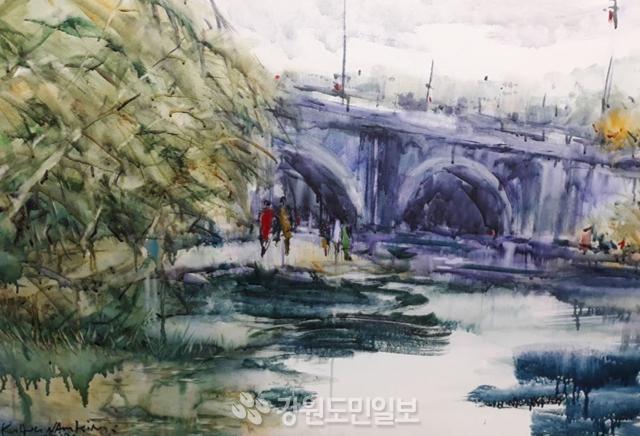 ▲ 김광남 작 '공지천의 산책길'