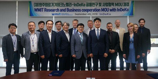 ▲ 원주의료기기테크노밸리와 독일 인데코(InDeKo)는 지난 9월 국제협력네트워크 기반구축에 상호협력할 것을 약속했다.