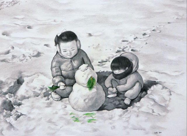 ▲ 최선미 작 '눈사람 만들기'