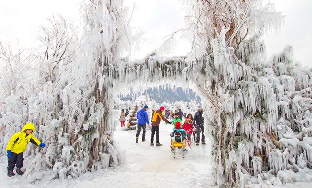 ▲ 1 지난해 인제빙어축제 모습에서 축제를 즐기고 있는 군장병들.2 인제빙어축제장에 설치된 눈꽃 성곽.