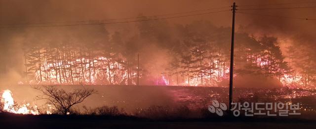 ▲ 4일 오후 11시 46분 강릉시 옥계면 남양리 일대에서 산불이 발생,주민대피령이 발령됐다.