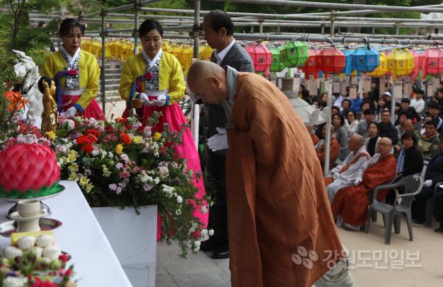 ▲ 천년고찰 양양 낙산사(주지 금곡 정념 스님) 부처님오신날 봉축법요식이  12일 보타전에서 봉행됐다.