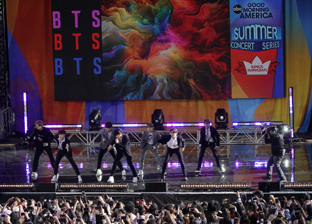 ▲ BTS performs on Good Morning America at Rumsey Playfield/SummerStage in Central Park in New York City on May 15, 2019.      Photo by John Angelillo/UPI    <All rights reserved by Yonhap News Agency>
