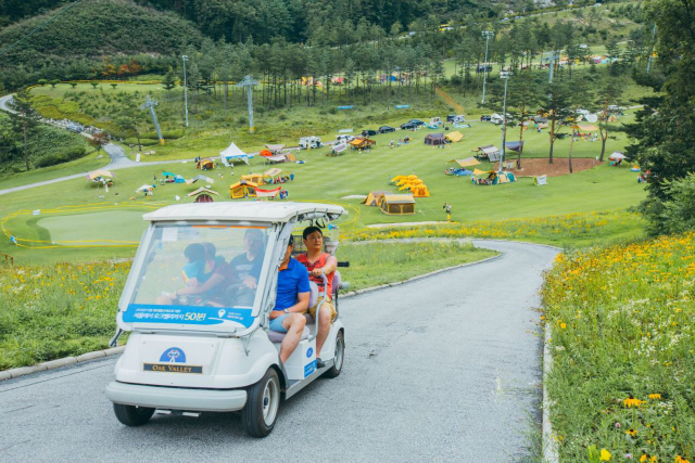 ▲ 골프카트를 타고 이동하는 캠핑 참가자