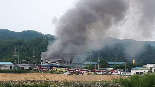 ▲ 원주 만종리 한 공장서 불