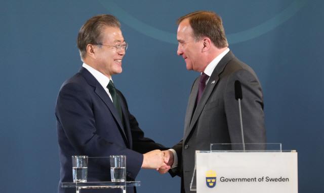 ▲ 스웨덴 총리와 공동회견 마친 문 대통령
