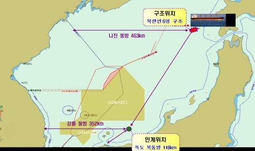▲ 북한 어선 침몰 위치도