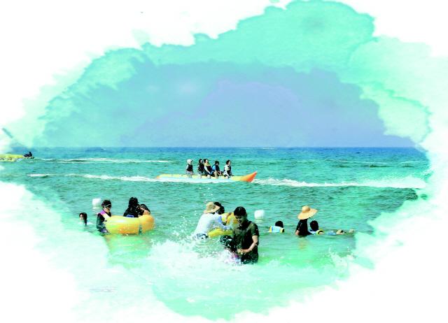 ▲ 주문진해수욕장을 찾은 피서객들이 물놀이와 다양한 바다 체험 재미에 빠져있다.