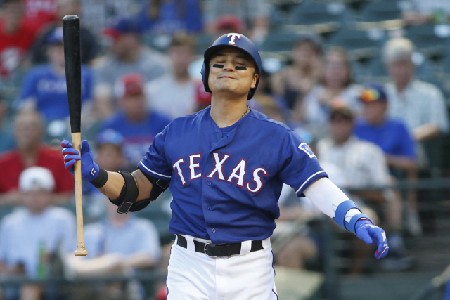 ▲ Jul 16, 2019; Arlington, TX, USA; Texas Rangers left fielder Shin-Soo Choo (17) reacts to striking out in the first inning against the Arizona Diamondbacks at Globe Life Park in Arlington. Mandatory Credit: Tim Heitman-USA TODAY Sports    <All rights reserved by Yonhap News Agency>