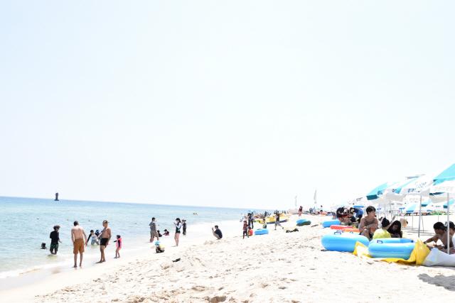 ▲ 낮 최고 기온이 33.8도에 육박하는 무더위가 찾아온 가운데 22일 강릉 경포해변에서피서객들이 더위를 피해 휴식을 즐기고 있다. 이연제