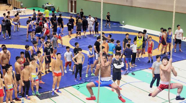 ▲ 12일 청소년국가대표 레슬링팀이 원통체육관에서 전술과 실전훈련에 구슬땀을 흘리고 있다.