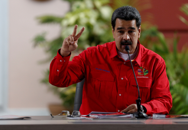 ▲ FILE PHOTO: Venezuela's President Nicolas Maduro speaks at a meeting of the Sao Paulo Forum in Caracas, Venezuela, July 28, 2019. REUTERS/Manaure Quintero/File Photo    <All rights reserved by Yonhap News Agency>