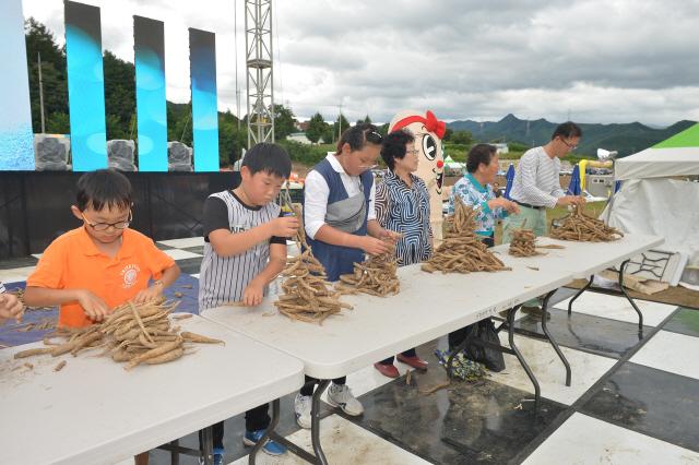 ▲ 횡성더덕축제 참가자들이 축제 프로그램을 즐기고 있다.