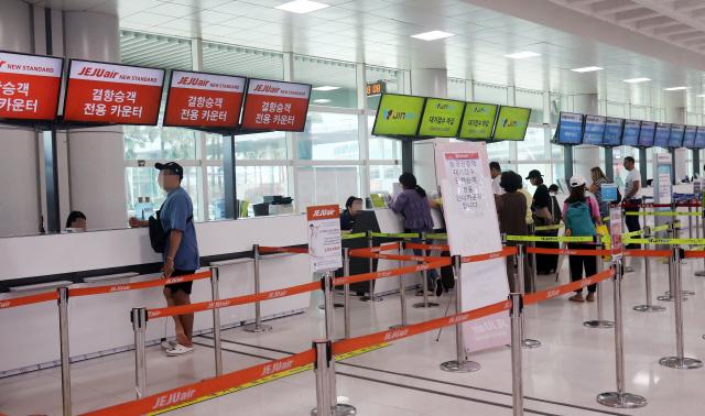 ▲ 제13호 태풍 '링링'의 영향으로 7일 오전 제주공항 항공편 운항에 차질을 빚고 있다. 2019.9.7