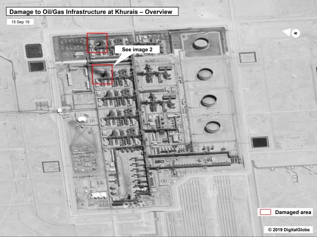 ▲ 지난 14일(현지시간) 무인기(드론) 공격을 받은 사우디아라비아 국영 석유회사 아람코의 아브카이크 쿠라이스 유전 시설의 모습으로 15일 미국 정부와 민간 위성업체 디지털글로브가 제공한 사진.