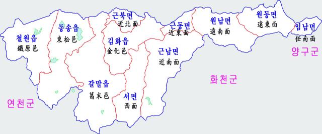 ▲ 6.25한국전쟁 정전협정으로 행정구역이 두동강난 철원군 행정지도.
