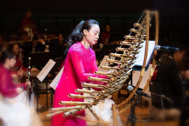 ▲ 베트남 단트롱 연주자 카오 호 응아의 연주 모습.