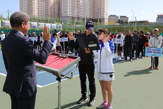 ▲ 강원도지사기 생활체육 테니스대회가 지난 19,20일 양양종합운동장 테니스장에서 개최됐다.