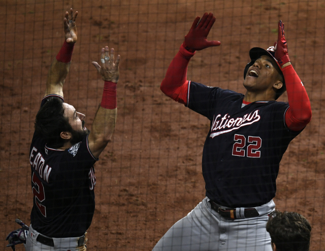 ▲ Washington Nationals Juan Soto (22) and Adam Eaton celebrate after hitting a solo home runs against the Houston Astros in the fifth inning in Game 6 of the 2019 World Series at Minute Maid Park in Houston on Tuesday, October 29, 2019.  The Astros lead the series 3-2 over the Nationals.  Photo by Trask Smith/UPI