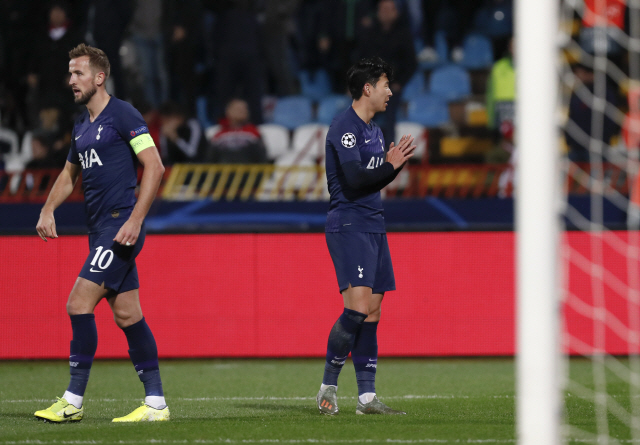 ▲ Tottenham's Son Heung-min, celebrates after scoring his side's second goal during the Champions League group B soccer match between Red Star and Tottenham, at the Rajko Mitic Stadium in Belgrade, Serbia, Wednesday, Nov. 6, 2019. (AP Photo/Darko Vojinovic)