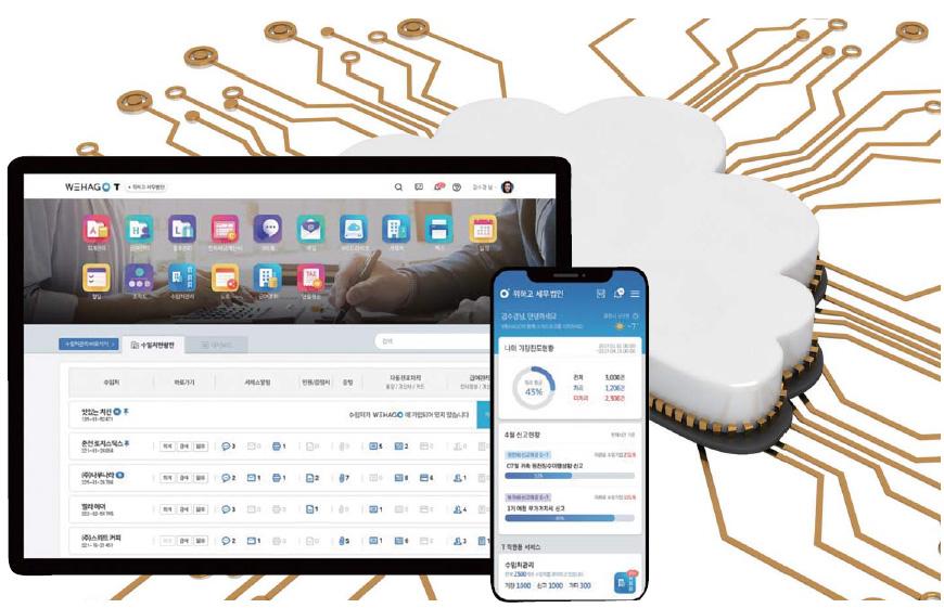 ▲ 더존비즈온이 올해 6월 출시한 세무회계 전문가용WEHAGOT는 세무회계사무소 업무와 비즈니스 전반을 클라우드로 제공하는 통합정보시스템이다.