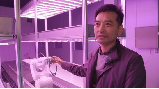▲ 박님일 스마트팜 티테크 대표가 태백 화전동 식물자원연구소에서 로봇을 활용한 농사를 짓고 있다.