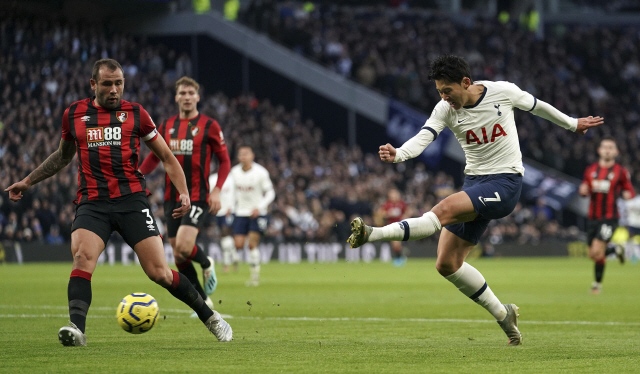 ▲ Tottenham Hotspur's Son Heung-min has a shot on goal during the English Premier League soccer match between Tottenham Hotspur and AFC Bournemouth at Tottenham Hotspur Stadium, London, Saturday, Nov. 30, 2019. (John Walton/PA via AP)    <All rights reserved by Yonhap News Agency>