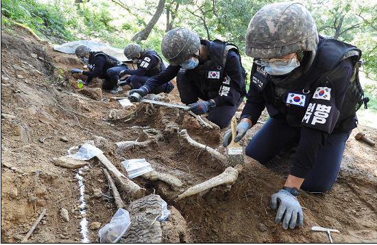 ▲ 유해발굴단 작업병력이 유해를 수습하는 모습.