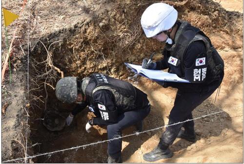 ▲ '화살머리고지' 일대 동물진지 내부에서 발굴된 유해를 감식하는 모습.