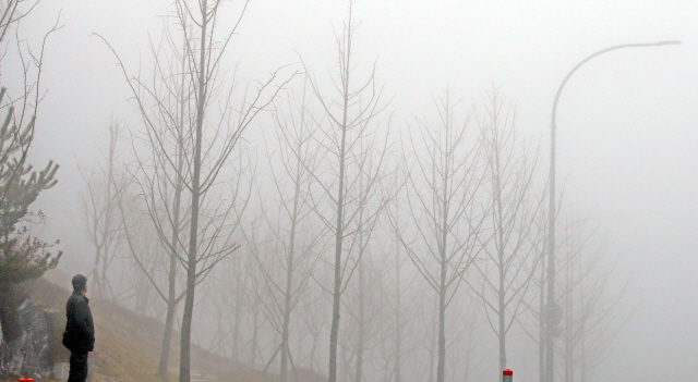 ▲ 13일 오전 강원 춘천시 약사동 일대에 짙은 안개가 끼어 한 시민이 하늘을 바라보고 있다.  2020.2.13