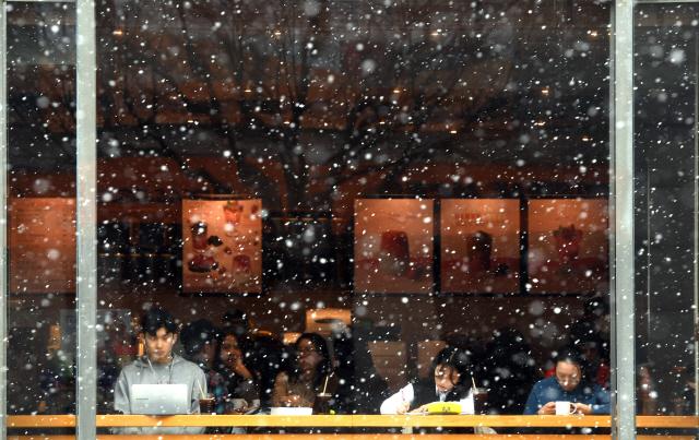 ▲ 도내 산간지역과 철원,평창,횡성 등지에 대설주의보가 내려진 16일 춘천의 한 카페 유리창 앞으로 눈이 내리고 있다.  최유진